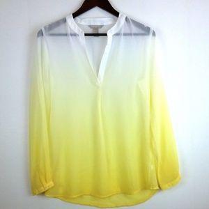 Women's Gradient Yellow Sheer Tunic Blouse Top